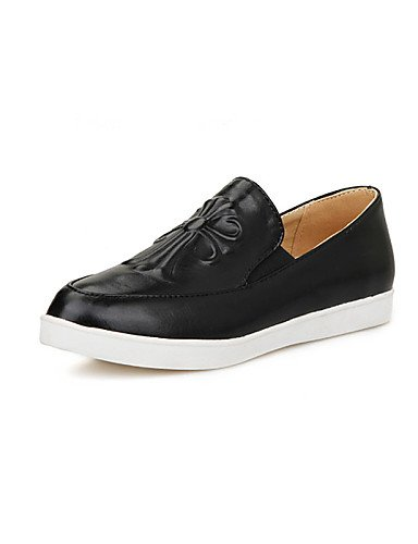 ZQ gyht Scarpe Donna-Mocassini-Casual-Comoda / Punta arrotondata-Piatto-Finta pelle-Nero / Bianco , white-us8 / eu39 / uk6 / cn39 , white-us8 / eu39 / uk6 / cn39 white-us6.5-7 / eu37 / uk4.5-5 / cn37