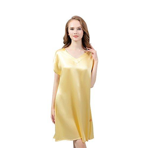 Nuisette Femme en soie naturelle de 19 momme, Chemise de nuit de luxe mi-longue Or
