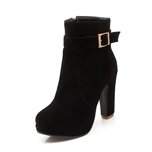 an-girls-buckle-platform-chunky-heels-black-frosted-boots-25-uk