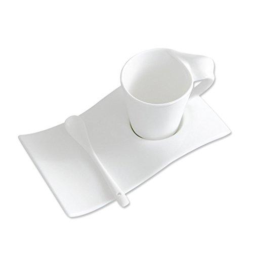 ufengke® 165Ml Tasse À Café De Porcelaine D'Os Et Soucoupe Créative Tasse De Thé De Poignée Torsadée Avec Cuillère Blanche Pure