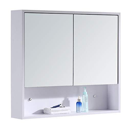 Bathroom mirror Badezimmerspiegelschrank Aus Massivholz, Wandspiegelschrank FüR Wandmontage, 60 cm...
