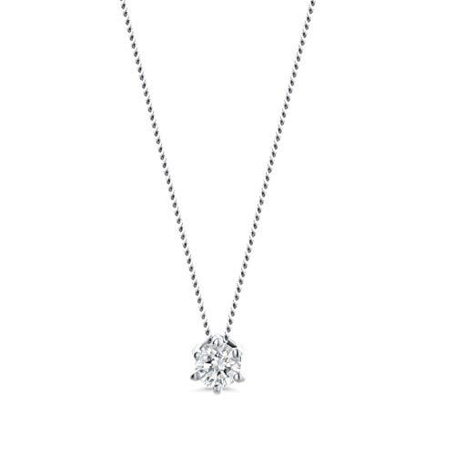 Orovi Damen Kette Weißgold 0.10 Ct Diamant Halskette mit Anhänger Solitär Diamant Brillant 14 Karat (585) Gold, 45 cm Lang Halskette Handgemacht in Italien
