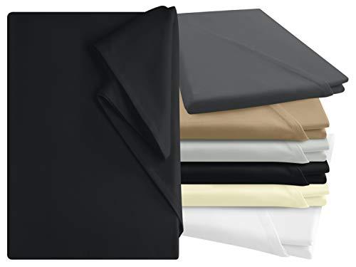 npluseins Bettlaken - 100{91d139c92f500b636c05f9ed761930b0ac455ab817f10b009b5d9106d4478f9a} Baumwolle - in 6 Farben - in 3 verschiedenen Größen - Haushaltstuch ohne Spanngummi, ca. 150 x 250 cm, schwarz
