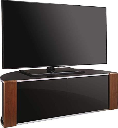 MDA Designs TV-Ständer für LCD- / Plasma- / LED-Schrank mit gebürstetem Aluminiumrand (102-52 Zoll), Walnussholz, Hochglanz, Schwarz Eiche