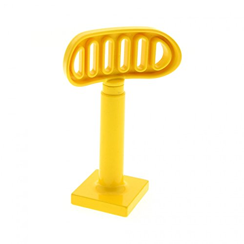 Bausteine gebraucht 1 x Lego Duplo Antenne Radar gelb 2 x 2 drehbar Stand Fuss Gross Base gelb Flughafen Polizei Schiff Boot 4376 4913