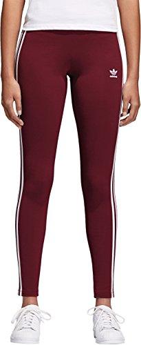 adidas Damen 3 Streifen Leggings 3 Streifen, Rot (Cburgu), 34 (Herstellergröße: 8) (Hose Streifen Leggings)