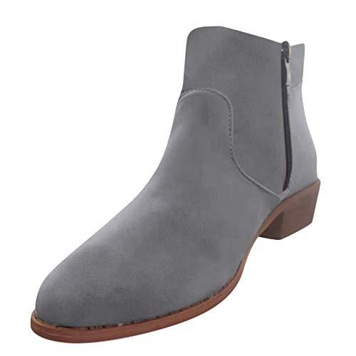 Scarpe Donna Eleganti, MEIbax Stivali Casual Tacco Basso Vintage da Donna Tacco A Blocco Eleganti Ankle Boots Corti Stivaletti Autunno