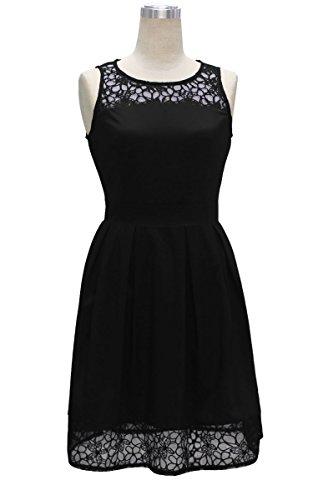 ECOWISH Damen Kleid Sommerkleid Freizeitkleid Cocktailkleid Lace Spitzen Elegant Ärmellos Rundhals Knielang Schwarz
