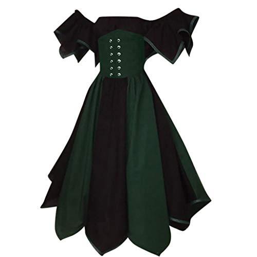 (Damen Mittelalterliche Kleid mit Trompetenärmel, Rovinci Vintage Prinzessin Mittelalter Party Kostüm Maxikleid Prinzessin Renaissance Partykleid Gothic Kurzarm Karneval Cosplay Kostüme Lange)