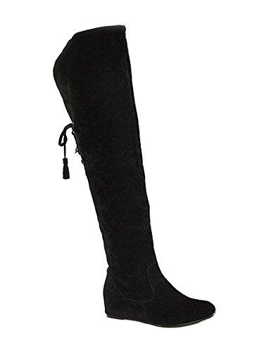 Minetom Damen Winter Warm Schnee Hohe Stiefel Pelzstiefel Flache Schuhe Overknee Stiefel Schwarz 42 (Warme Schnee Stiefel)