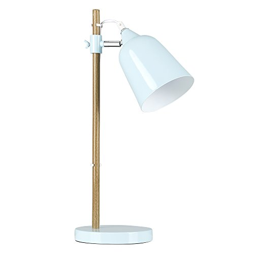 Table lamp wood amazon modern scandinavian style design duck egg blue gloss adjustable head and wooden beech effect wood neck bedside table desk spotlight lamp aloadofball Choice Image