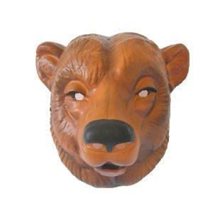 Hartplastik Tier-Maske für Erwachsene (Braunbär Maske)