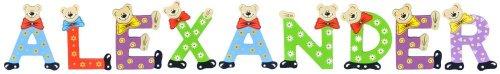 Playshoes Kinder Holz-Buchstaben Namen-Set ALEXANDER - sortiert
