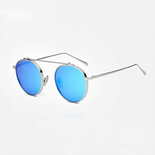 MWPO Polarisierte Sonnenbrille runde Dicke Metall großen Rahmen persönlichkeit männer und Frauen Fahren entspiegelte komfortable und langlebige Brille (Farbe: Silber Rahmen Blaue linse)