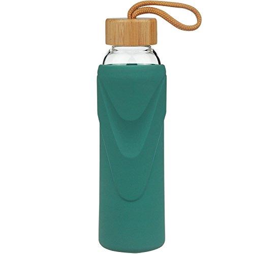 FCSDETAIL Sport Borosilikat Trinkflasche Glas Wasserflasche mit Silikonhülle mit Bambusdeckel 1000ml