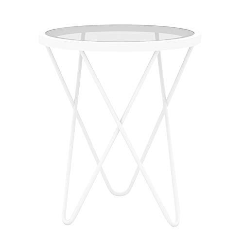 Canapé de Salon côté/Coin A Few/Simple Petite Table à thé Moderne, Table Basse en Verre créatif en Fer forgé Petite Table Ronde dorée Blanc