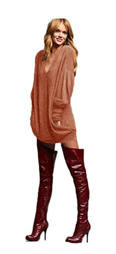 Womens Casual V-cou long irrégulière manches Shirtdress Top vrac Shirt Blouse Marron