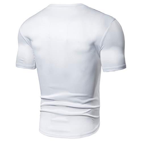 YCQUE Herren T-Shirts, Fashion Herren Sommer Täglich Einfache Klassische Lässige Passform Patchwork Kurzarm Große Größe Oansatz Atmungsaktiv Bequeme Fitness Sport Lauft-Shirt Tops Bluse