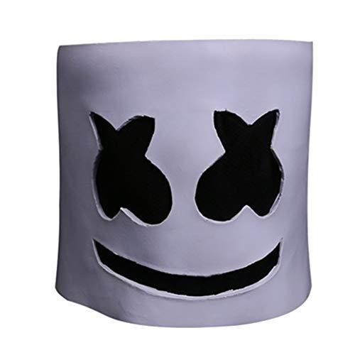 SDKHIN Cotton Candy Elektronische Silbenemulsion DJ Kopfbedeckung Halloween Performance Mask,White-OneSize