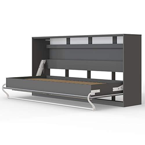 Standard-klappbett (SMARTBett Standard 90x200 Horizontal Anthrazit Schrankbett   ausklappbares Wandbett, ideal geeignet als Wandklappbett fürs Gästezimmer, Büro, Wohnzimmer, Schlafzimmer)