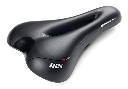 AARON Trekking Fahrradsattel, Gel Fahrrad Sattel ergonomisch und bequem, Fahrradsitz für Damen und Herren, Schwarzer Radsattel für Trekkingrad, Mountainbike, Tourenrad, E-Bike