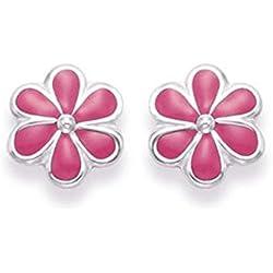 Broche de plata de ley Juego de pendientes de diseño de margaritas rosa postes de esmalte - TAMAÑO: 7 mm. Empaquetadas en nuestra calidad plateado caja de regalo por 1st class Mail.