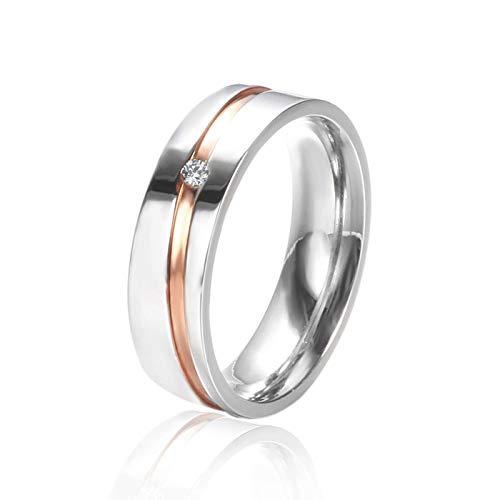 Ritzo by M ~ Damen-Ring Verlobungs-Ring Freundschaftsring Herrenring Partnerring Edelstahl Ring mit Stein Chirurgenstahl 316L Linie roségold einzelner Zirkonia (52 (16.6))