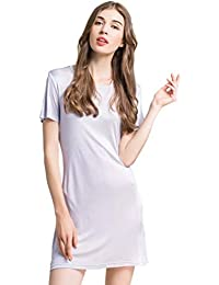 efab9535f6 Zylioo 100% Mulberry Silk Knit Nightgown Long Short Sleeve Sleep Dress T  Shirt Sleepwear