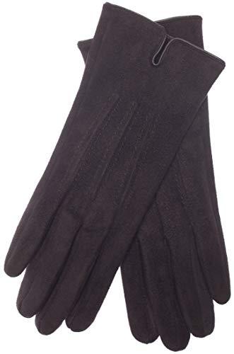 EEM Damen Kunstleder Handschuhe ARIANE in Wildleder-Optik mit kuschelig weichem Teddyfleece, vegan Schwarz One size