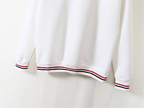 Luna et Margarita Langärmelige kurze Frauen Sweatshirt Rundhals mit Prints One Size Weiß drei-Farben Ribbing