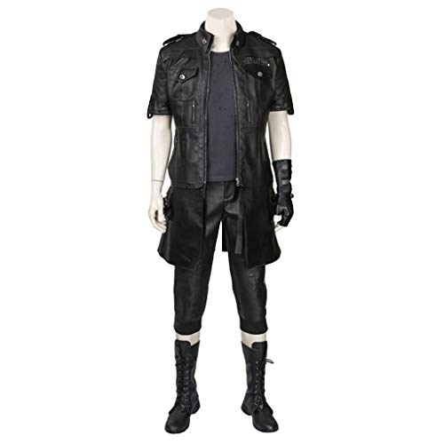 Anime Final Fantasy 15 cos um Halloween Kostüm Jacke T-Shirt Lederstiefel Kind Cosplay Set Benutzerdefiniert,Black-L(168to172)