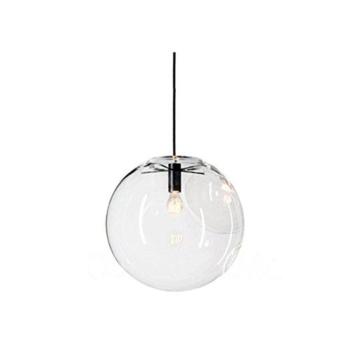 Wings of wind - Glaskugel Lampenschirm E27 Pendelleuchte Kronleuchter Transparent Droplight Hängelampe Schwarz Lampenfassung (Schwarz, 30cm) -