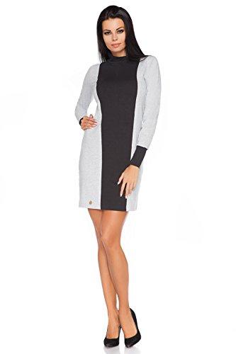 Futuro Fashion Femmes Soirée Manches Longues Mini Colonne Robe col roulé Viscose FA441 Tailles 8-14 UK Noir