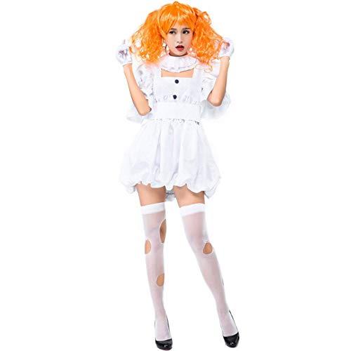 Kostüm Girl Halloween Teen - ERFD&GRF Teen Girls & Ladies Halloween Horror Dead Böse Geisterpuppe Kostüm Weiß Phantasie Kurzes Kleid Maskerade Kleidung Für Frauen, XL