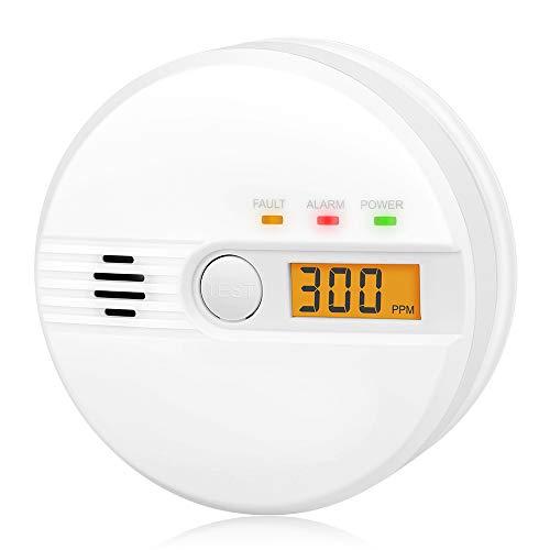 Kohlenmonoxid Warnmelder LCD Anzeige CO Melder 85Db Alarm Kohlenmonoxidsensor Kohlenmonoxid Melder mit Prüftaste Batteriebetrieb