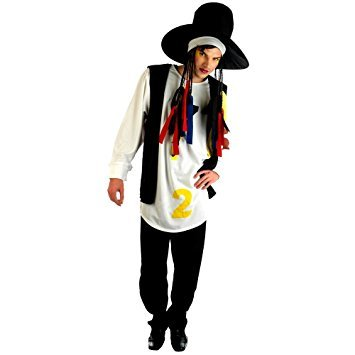 Adult Boy George 80s Pop Star Costume. This costume includes hat with attached wig, long white printed shirt and black waistcoat. Look how he was in his Karma Chameleon days back in the 1980's.