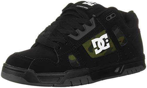 Camo Leder Skate Schuhe (DC Stag Skate-Schuhe, für Herren, Black/Military Camo, 43 EU)