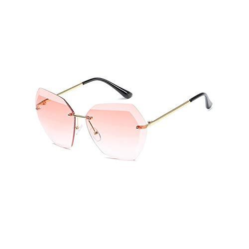 Sportbrillen, Angeln Golfbrille,New Sunglasses For Women NEW Ladies Rimless Diamond Cutting Lens Brand Designer Ocean Shades Vintage Sun Glasses Uv400 gold pink
