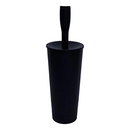 Life's better and more scopino water bagno per wc con coperchio opaco, x toilette, design moderno, plastica di qualità bianco nero tortora grigio (nero)