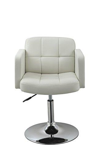 Clubsessel Sessel Kunstleder Weiß Esszimmerstuhl Lounge Sessel höhenverstellbar drehbar Duhome...