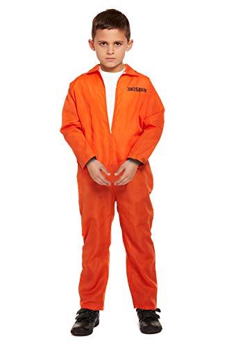 Henbrandt - Disfraz de preso Naranja para niños de 10 a 12 años