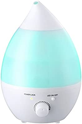 VicTsing 1.3L Humidificador Ultrasónico Ionizador/ Difusor de Aroma de Forma Lágrima/ LED Luz de 7 Color, Perfecto para Dormitorio, Hogar, Oficina, Baño, Bebé, etc.