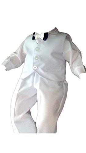 Taufanzug Baby Junge Kinder Kind Taufe Anzug Hochzeit Anzüge Festanzug, 4tlg , Weiß, Gr.80