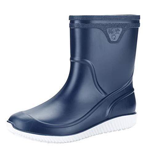 Wellies/Dorical Herren Gummistiefelette Schwarz Blau 11cm Tall Waterproof Fashion Halbschaft Regenstiefel Rain Boots Wasserdicht Stiefel Casual Schuhe Rutschfest für Männer 39-44 EU(Blau,44 EU) - Wasserdichte Boot-männer