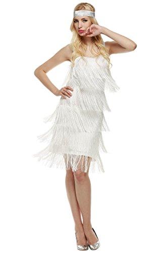(AIMADO Damen charleston kleid mit stirnband 1920er Flapper Kleid fransenkleid Knielang Abendkleid, Weiß, EU 40 (Herstellergröße XL))