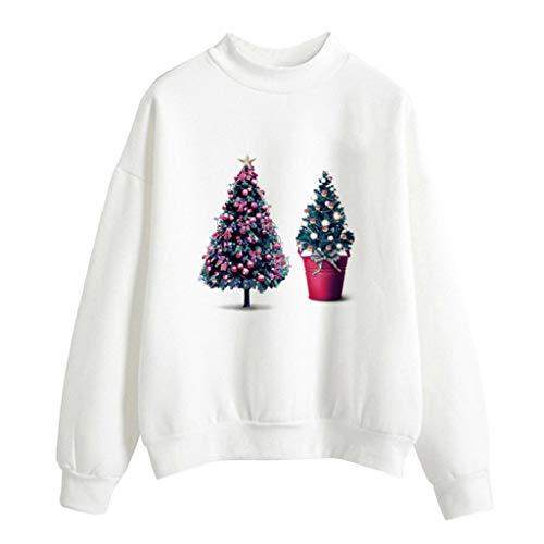 Soupliebe Frauen Weihnachten Print Langarm Damen Bluse Pullover Tops Shirt Sweatershirt Kapuzen Sweatjacke Kapuzenpullover ()