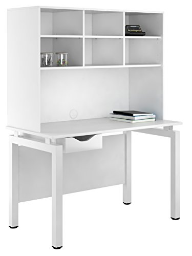 UCLIC Kit Out My Office Bench Desk Cupboard with Single Drawer and Open Upper Storage, Metal, White Gloss, 1200 mm
