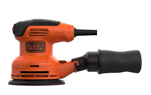Black+Decker Exzenterschleifer (230W, Scheiben-Ø 125 mm, mit integrierter Staubabsaugung, zum Schleifen/Polieren, Ergonomisches Griffdesign, Klettfix-System, inkl. 1 Schleifpapier K120) Bew210 (Staubabsaugung-system)