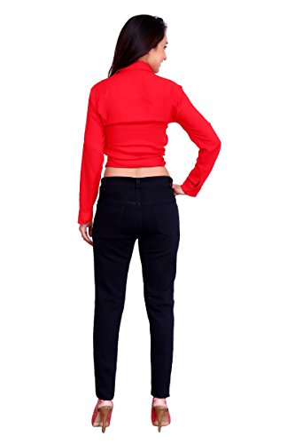 Women's High Rise Stretchable Casual/Formal Jeans (Black, 36)