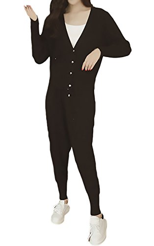 Damen Overall Hosenanzüge Elegant Strickjacke+Lang Hosen 2 Teilig Young Fashion Oversize Soprt Sets Lose Bluse Knit Top Pants Frühjahr Herbst Anzug Langarm V-Ausschnitt Mit Knöpfen